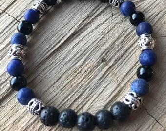 Lapis lazuli stone lava rock diffuser bracelet