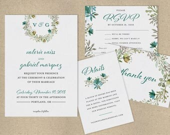 Floral Wreath Watercolor Wedding Invitations and Wedding Suite - Customizable Printable Wedding Invitation Kit - Digital Download