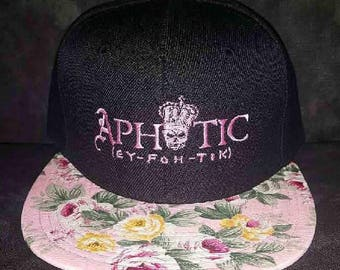 Black and Pink/Green Floral Snapback with Aphotic Logo