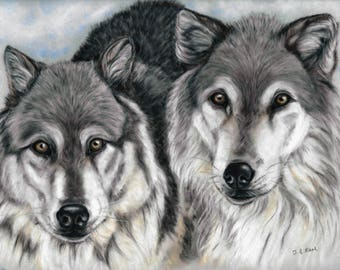 Wolf Wall Art - Wolf Print - Wolves Artwork - Wolf Painting - Wolf picture - Wolf Gift - Animal Picture - Animal Print - Wildlife Artwork