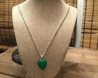 Dark Green Adventurine Heart Pendant