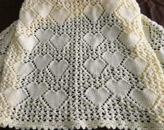 Hand Knit Bundle of Hearts Baby Blanket