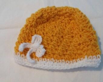 Yellow Crocheted Baby Hat