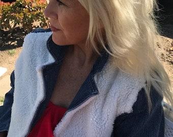 Faux sheepskin denim jacket