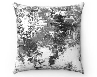 Black And White, Square Pillow Case, Abstract Painting, Throw Pillow, Decorative Pillow, Modern