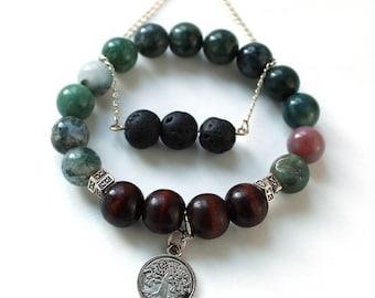 Fancy Jasper Dark Wood and Lava Beaded Bracelet Set With Charm