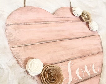 Wooden heart wall hanging - Valentine's Day Decor