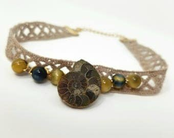 Ammonite Fossil and Cats Eye Bead Lace Choker Necklace, Handmade, Hippie Jewelry, Bohemian Necklace, Fossil Necklace, Gypsy Necklace