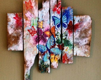 Butterfly's Abstract acrylic on driftwood wall art