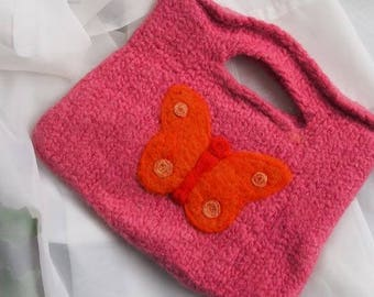Handbag Butterfly Handmade Felted for Girls