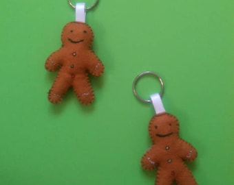 Brown Gingerbread Man Keychain / Biscuit / Gingerbread keyring / Handmade /