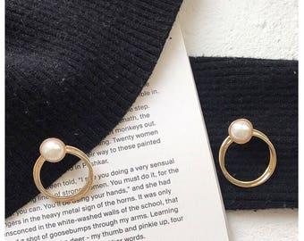 Pearl 14K Gold Plated Hoop Earrings Stud Earrings Stylish Earrings Gifts for Her
