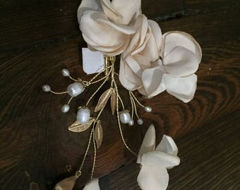 "Blush satin with gold leaves and freshwater pearls on a clip  6""Lx3""W"