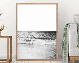Ocean Wave Print - black and white Sea Wall Art, Coastal Print, Beach Decor, Sea Printable, California Photo, Scandinavian Wall Art