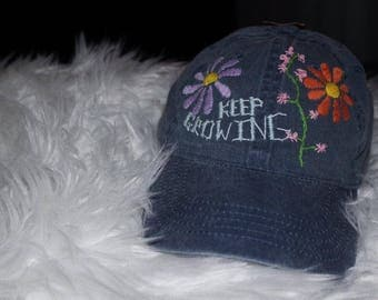Hand-Embroiedered Floral Dad Cap