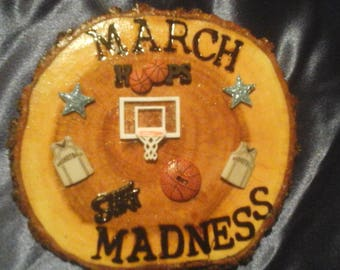 March Madness Basketball Hoops Mesquite Wood Wall Plaque