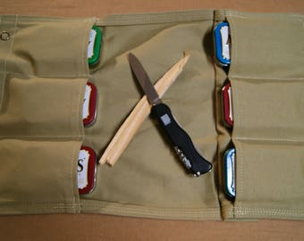 Bushcraft pouch 6 pockets. Fire Kit Holder. Multi purpose Pouch. Bush crafting, Hiking, Camping, Hunting. Car Bag.