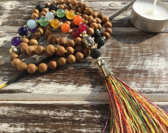 Mala necklace, Japa mala in sandalwood with 7 chakra stones and lava stone, wooden necklace, real stone necklace, meditation