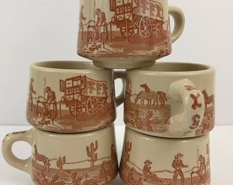 "Vintage wallace china ""chuckwagon"" mugs (5)"