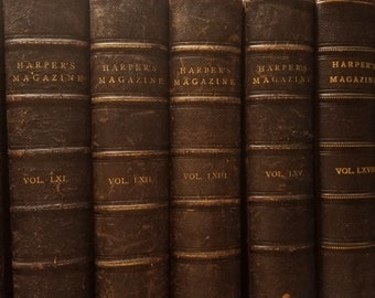Antique Leather Bound Harper's New Monthly Magazine Set of 7 Handsome Volumes For Years 1879 to 1884