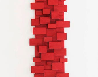 Red Wall Art, Wood Wall Art, Modern Decor, Sculptural Wood Wall Art, Modern Wood Wall Art, Modern Wall Decor, MCM Decor
