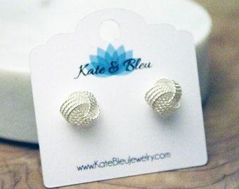Trefoil Silver Knot Stud Earrings