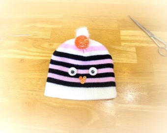 Knit Hat with Pompoms, Baby Bird Hat, Beanie Hats for Kids, Eco-Friendly Clothes, Upcycled Treasures, Fun Animal Hats, Cute Winter Hats H030