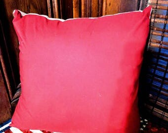 Red & beige reversible pillow cover