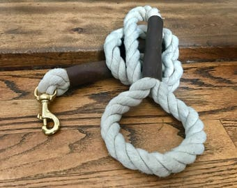 Natural Rope Dog Leash // Cotton Rope Dog Lead - Strong Dog Leash - Brass Dog Leash - Canada - Made in Ottawa