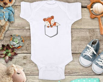 Fox in a Shirt Pocket - cute Baby bodysuit Toddler Youth Shirt - baby shower gift surprise