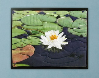 Water Lily on Swain's Lake - Thread Painting Mounted on Canvas - Modern Quilted Wall Art
