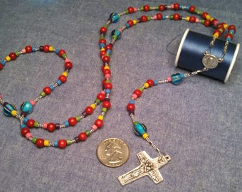 Rainbow wood/glass rosary with Pope Francis and the Good Shepherd