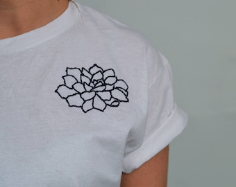 Hand Embroidered Flower T-Shirt