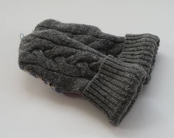 Recycled Sweater Mittens - Fleece Linning - Adult Sized - Women's