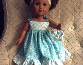 "18"" Doll Sundress Ruffled hem dress,sleeveless shoulder tie,cotton blend turquoise/white print,smoke-free,USA made,matching purse"