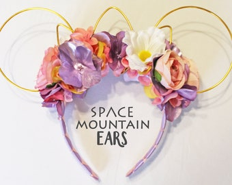 Rapunzel Inspired Reversible Floral Wire Mickey Ear
