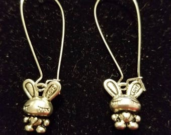 Boutique Silver Alloy ... Cute Sleeping Heart Bunny Earrings  #C66