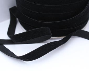 3/8 inch Black Velveteen Ribbon by the Yard / 10 MM Velveteen Ribbon / Velvet / Black / ER-V030