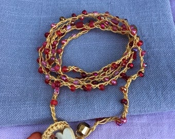 Crocheted Multilayered Bracelet/Necklace