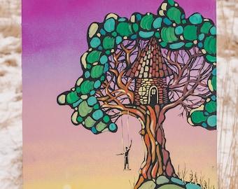 Original landscape painting ready to ship acrylic artwork interior vertical sunrise dawn treehouse travel