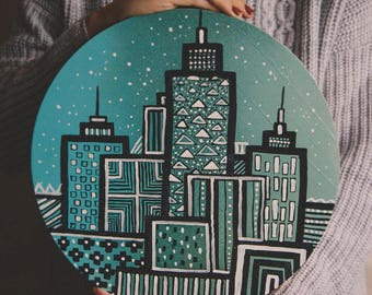 City Painting Circle Spray paint Acrylic Orange Fairy tale illustration interior gift