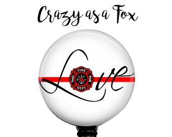 "Thin Red Line ""Love"" Retractable Badge Holder, Fireman Badge Reel, Lanyard, Stethoscope ID Tag, Nurse, RN, Doctor, Teacher Gift"