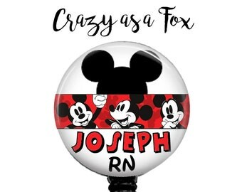 Personalized Mickey Mouse Retractable Badge Holder, Badge Reel, Lanyard, Stethoscope ID Tag  Nurse RN cna md rt rrt emt pa teacher Gift