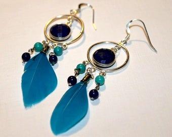 Earrings Bohemian Lapis lazuli and Turquoise