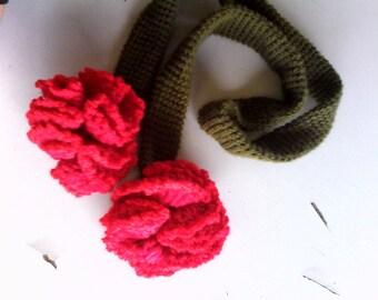 Carnation flower lariat scarf