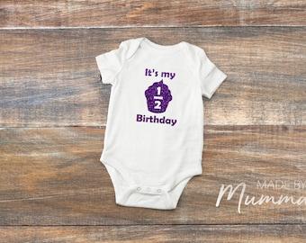 Half Birthday, Six Months, Halfway to One, Children's T-Shirt, Infant T-Shirt, Baby Onesie, Bodysuit