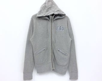Rare!! GAP Big Logo Embroidery  Silver Colour Hoodies Sweater