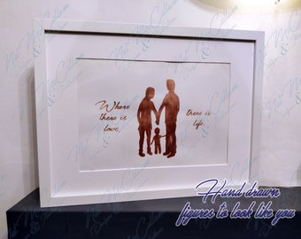 Metallic Silhouette - Personalised Drawings - Rose Gold - Anniversary - Custom Caricatures - Hand Drawn to Look Like You