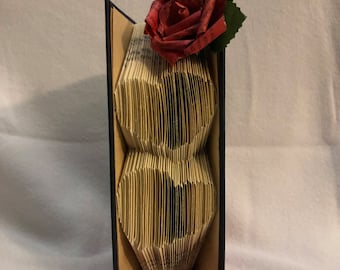 Folded Book Art - Hearts and Rose