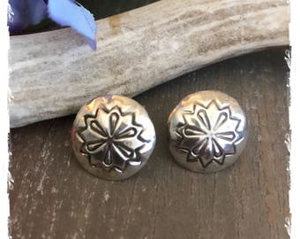 Southwestern Native American Navajo Sterling Silver Concho Earrings with Stamping 3/4""